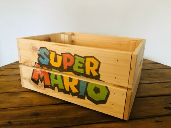 Super Mario  Hamper Wooden Storage Gift Box Unique Handcrafted  Toy Box Gift Bag