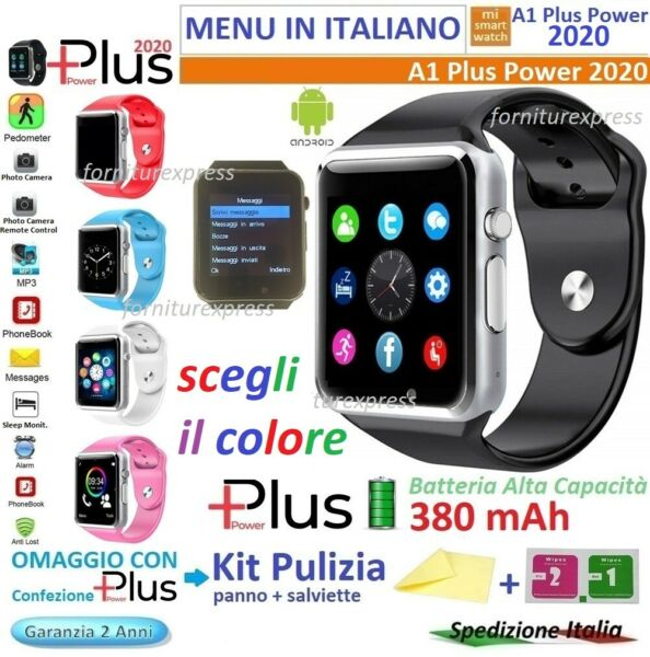 ⭐SMART WATCH A1 2020 Plus power Android Foto Camera con  MICRO SD   SIM CARD Opz