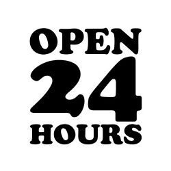 Open 24 Hours Decal - Business Sign Sticker