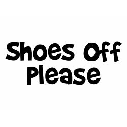 Shoes Off Sticker Please Decal - Courtesy Rule Window Sign Sticker