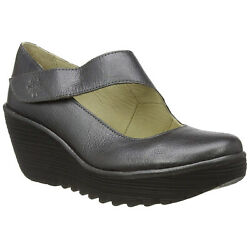 Fly London YASI682FLY Leather Wedge Casual Adjustable Ankle Womens Shoes