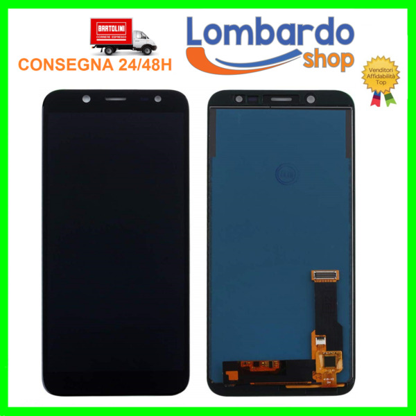 TOUCH SCREEN LCD DISPLAY PER SAMSUNG GALAXY J6 2018 SM-J600F J600 NERO BIADESIVO
