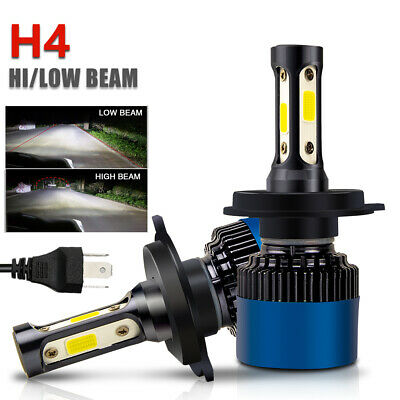 Pair H4 HB2 9003 LED Headlight Kit Hi/Lo Beam Bulbs 6000K White 20000LM 100W