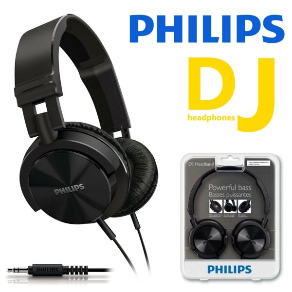 Philips DJ SHL3000 Extra Bass Wired Headphones Black On Ear Stereo Headband New