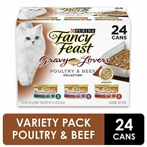 Purina Fancy Feast Gravy Lovers (24) 3 Oz. Cans, Poultry & Beef - 8 Cans Each