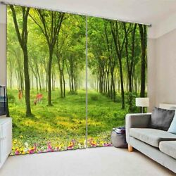 Dense Forest Nice Grass 3D Curtain Blockout Photo Printing Curtains Drape Fabric