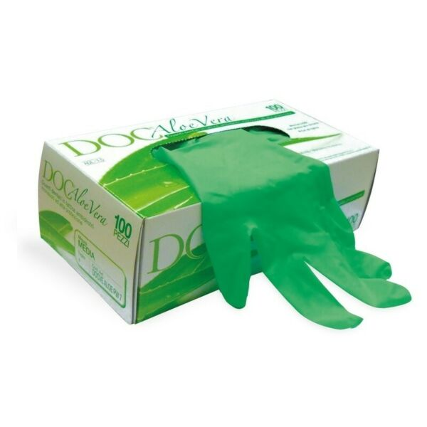 Guanti Monouso Doc in Lattice Aloe Vera Senza Talco Taglia XS 100 Pz