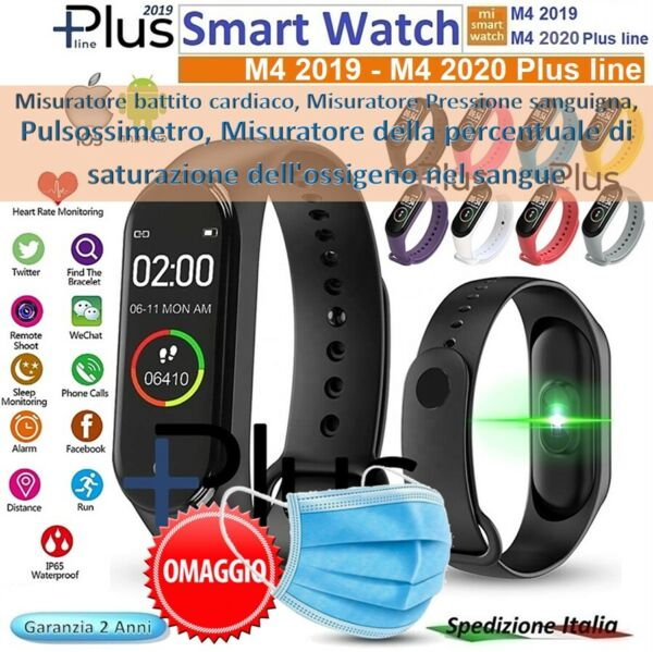 ⭐SMARTWATCH OROLOGIO M4 2020 SMART BAND FITNESS TRACKER CARDIO FREQUENZIMETRO