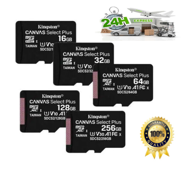 KINGSTON MICRO SD MICROSD 16 32 64 128 GB CL10  80 MB/S Canvas MEMORIA ORIGINALI