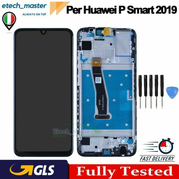 LCD DISPLAY Per HUAWEI P SMART 2019 POT-LX1 LX2 Touch Schermo VETRO + FRAME NERO