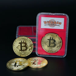 Bitcoin Gold Plated Physical Coin Commemorative Collection with PVC Crystal Case