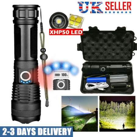 img-900000lm portable XHP50 LED Flashlight Tactical Waterproof Zoom Torch Lamp UK