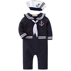 Baby Boy Sailor Costume Long Sleeve Romper With Hat 2 Pcs Set