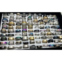 Kyпить NEW 50pcs MIX LOT Stainless Steel rings Wholesale Men Women Fashion Jewelry lot на еВаy.соm