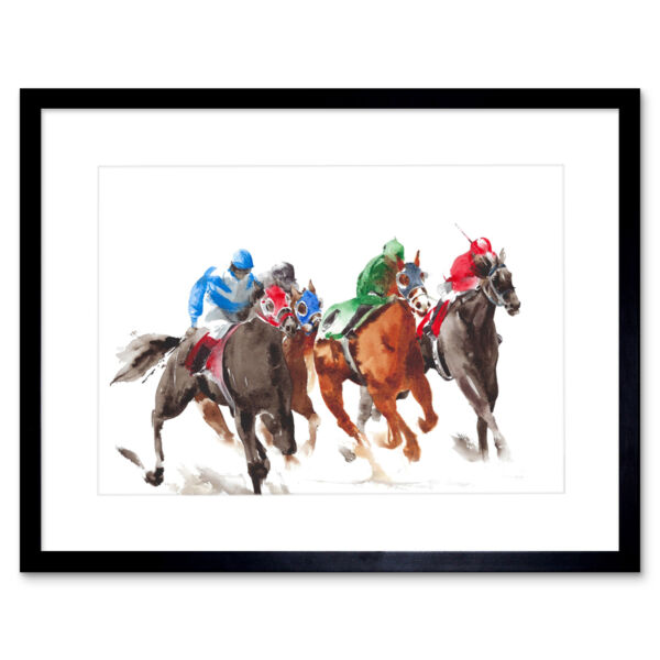 Royaume-UniRacing Horses On White Art Print Framed Poster Wall Decor