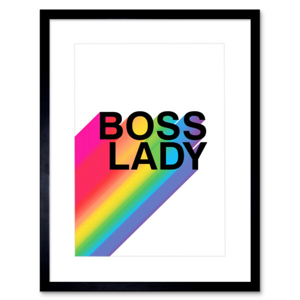 Royaume-UniBoss Lady Rainbow White Motivational Framed Wall Art Print 12X16 In