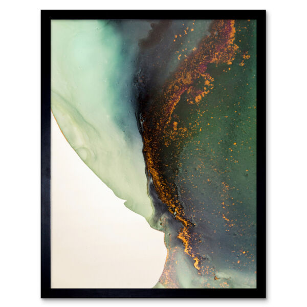 Royaume-UniAbstract Paint With Gold Green 12X16 Inch Framed Art Print