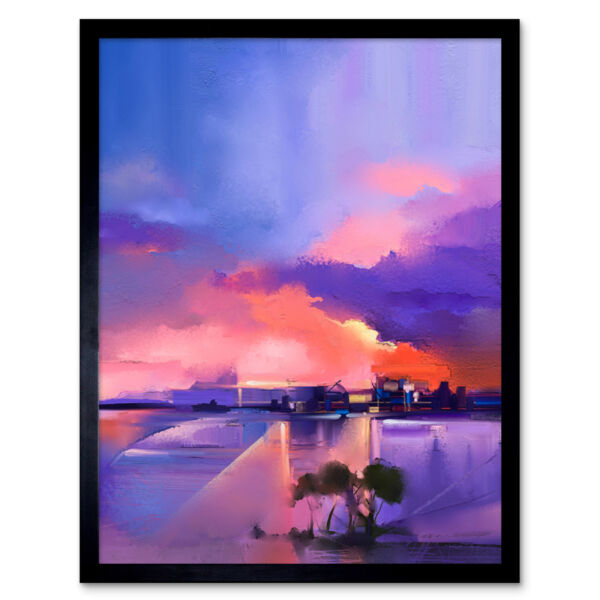Royaume-UniAbstract Sunset On Lake 12X16 Inch Framed Art Print