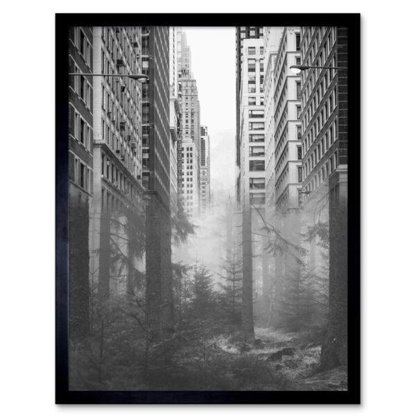 Royaume-UniForest City Urban Skyscrapers Trees Combined Photograph 12X16 Inch Framed Print