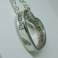 Heart Pendant made from  US SILVER QUARTER coin ring  1940-1964 with chain