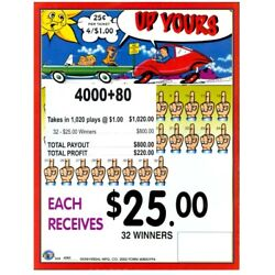 Kyпить JAR TICKETS!!! 4080ct 4's UP YOURS, Bingo Pull Tab Tip Board 32-$25s на еВаy.соm