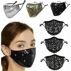 Kyпить Women's Crystal Glitter Rhinestone Sparkle Bling Reusable Face Mask Covering на еВаy.соm