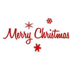 Merry Christmas Sticker Decal - Holidays Words Phrases Choose Color Size