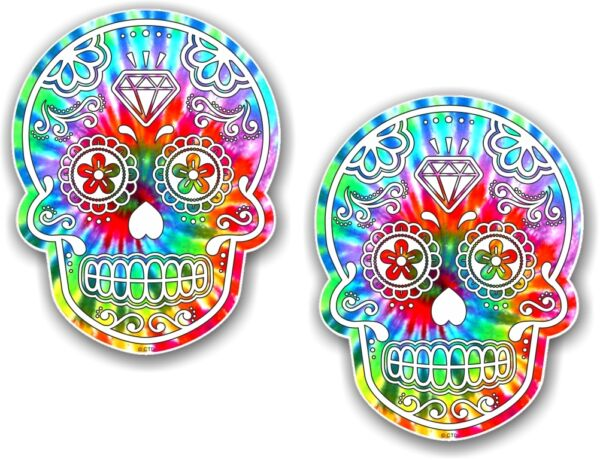 Royaume-Uni2pcs 70x55mm Mexicain Day Of The Dead Sugar Skull Hippie Cravate Teinture Motif