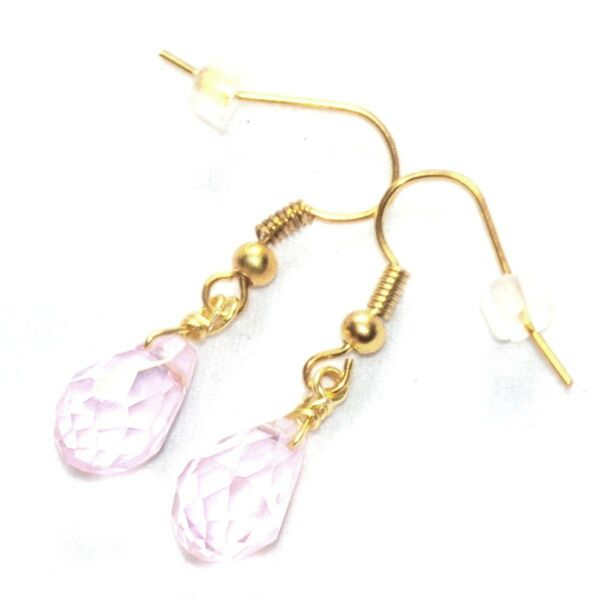 La Marne,FranceBoucles  fantaisies couleur or goutte cristal rose bijou earring