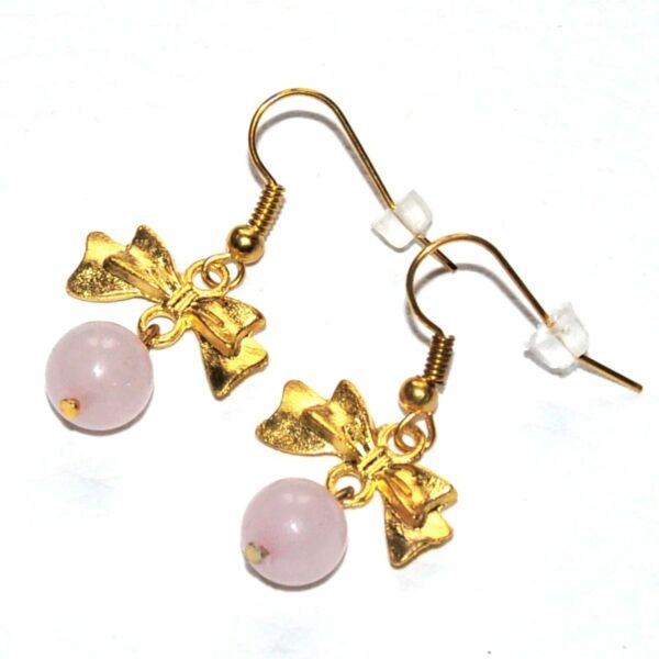 La Marne,FranceBoucles  fantaisies couleur or noeud Quartz rose bijou earring