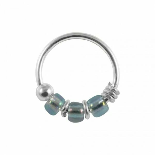 Royaume-Uni925 Sterling Silver  Lavender Bead Nose Hoop Ring