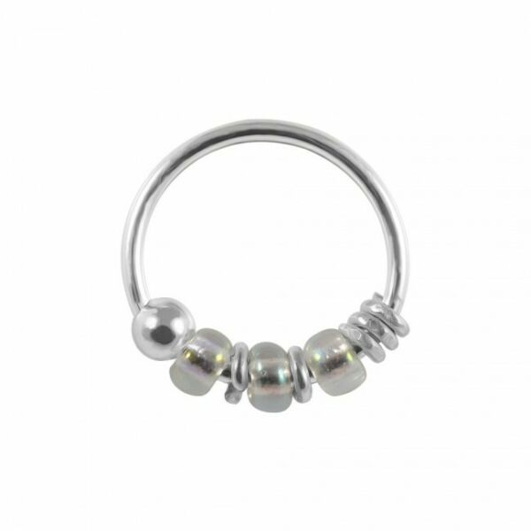 Royaume-Uni925 Sterling Silver  Clear Bead Nose Hoop Ring