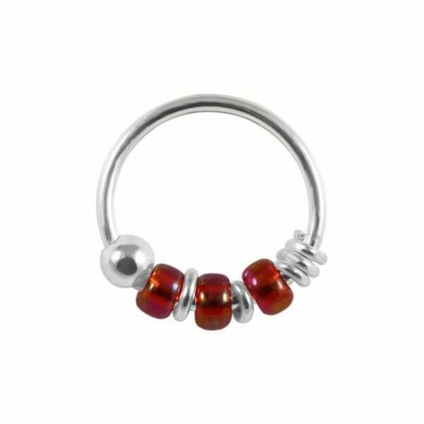 Royaume-Uni925 Sterling Silver  Light Red Bead Nose Hoop Ring