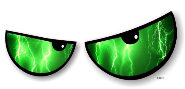 Royaume-UniPaire De Angry Mal Eyes Yeux Vert  Strike Auto Moto Casque Autocollant