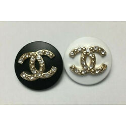 Kyпить Set of 2 Chanel cc logo buttons 22mm, black and white, clear cryslats Stamped на еВаy.соm