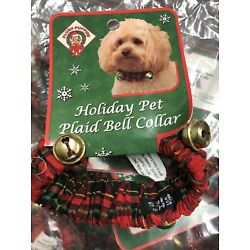 Lot of 10 Plush Puppies Holiday Plaid Bell Pet Collar Christmas Small Groomer
