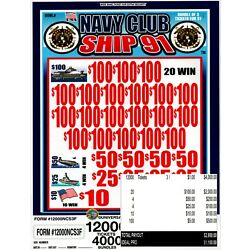 Kyпить JAR TICKETS!!! 12,000 3's NAVY CLUB SHIP 91 Bingo Pull Tab (20-$100's) на еВаy.соm