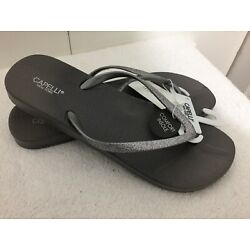 NWT Womens Capelli New York Gray Thong Flip Flops Size 11