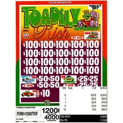 Kyпить JAR TICKETS!!! 12,000 3's TOADILY RICH Bingo Pull Tab (20-$100's) на еВаy.соm