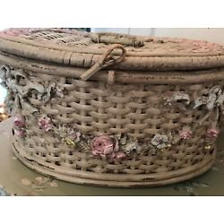Kyпить Beautiful rare vintage barbola sewing basket. Flower swags and bows! на еВаy.соm