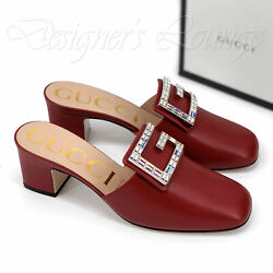 NEW GUCCI Madelyn 39G Crystal G Red Leather Mules Slides Shoes $890 Authentic