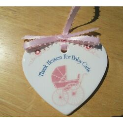 Kyпить North Western Products, Glazed Ceramic White Heart, Pink Ribbon, for a Baby Girl на еВаy.соm