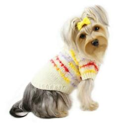 KLIPPO PET CUTE IVORY HAND KNITTED SWEATER FOR DOGS SIZE S MSRP $31.99