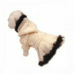 KLIPPO PET HOODED HAND KNITTED SWEATER WITH FAUX FUR SIZE XS MSRP $35.99