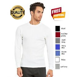 Men's Thermal Shirt Heavy Weight Cotton Plain Long Sleeve Crew Neck Waffle Solid