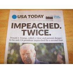 Kyпить USA TODAY NEWSPAPER THURSDAY JANUARY 14, 2021 DONALD TRUMP IMPEACHED TWICE на еВаy.соm