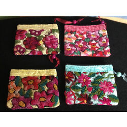 Guatemalan Textile Hand Embroidered Fabric Zippered Coin Purse/Cosmetic Bag New