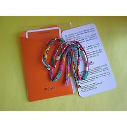 CHARMING TWILLY HERMES SILK SPAGHETTI BRACELET WRAP NEW SEALED MADE IN FRANCE