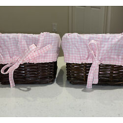 Kyпить Pottery Barn Kids Small Sabrina Wicker BASKETS and LINER Pink Gingham EUC на еВаy.соm