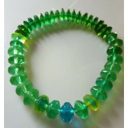 Kyпить Old Antique Czech Vaseline Glass Molded Green Blue Trade Beads Collection на еВаy.соm